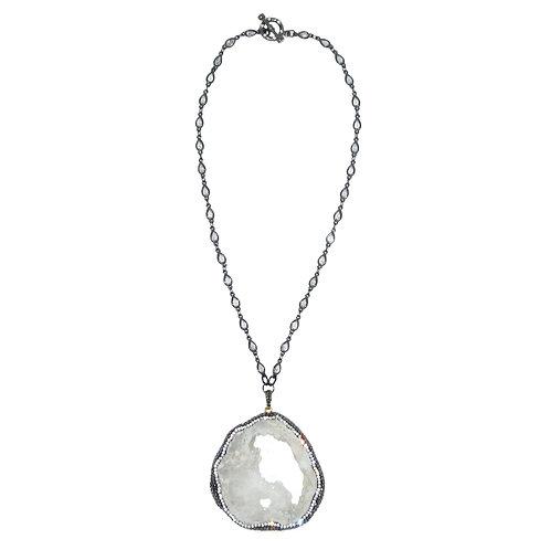 Pave' Druzy Slice Pendant on Cubic Zirconia Teardrop Chain Necklace