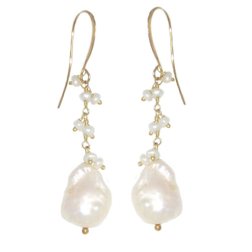 White pearl bead fringed gold chain earrings w/white freshwater pearls