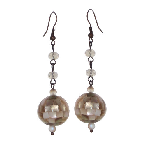 Peach inlaid mother of pearl ball drop earrings