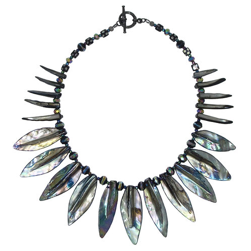Mother of Pearl shell leaf collar necklace