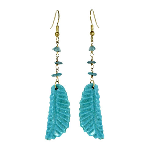 Hand carved turquoise feathers on gold chain earrings