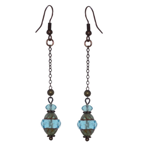 Turquoise Czech glass bead antique copper chain drop earrings