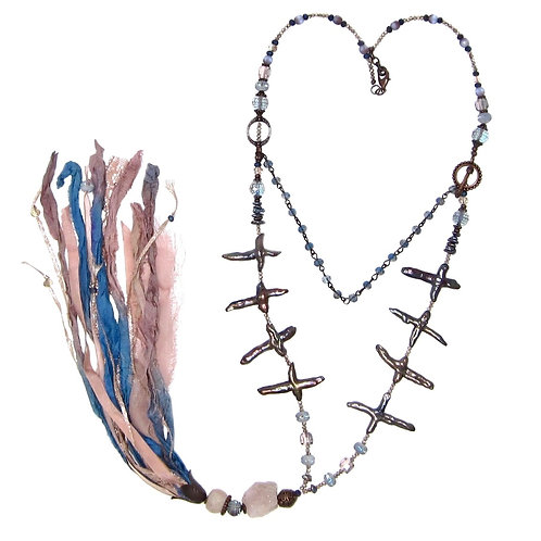 Dark rose/blue mixed bead sari silk tassel necklace