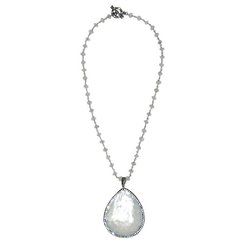 Pave' shell pendant on moonstone chain necklace