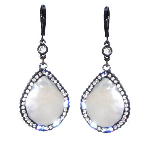Pave' freshwater pearl and cubic zirconia drop dangle earrings