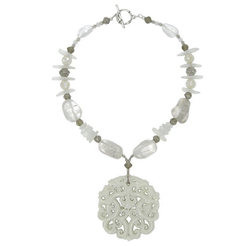 Ivory carved jade medallion quartz and sea glass necklace
