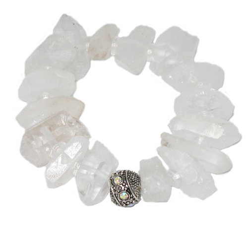 Clear quartz crystal chunky bracelet with Czech glass stretch bracelet