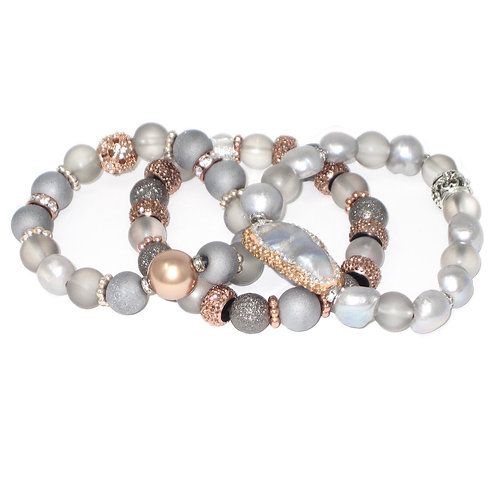 Pave' freshwater pearl, druzy, rose gold pearl, matte glass and accents