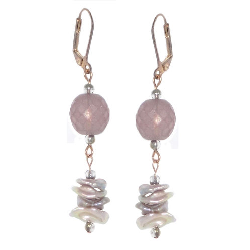 Matte rose Czech glass and keishi freshwater pearl drop earrings