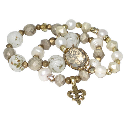 Pave' freshwater pearl and crystal w/pearls, gold beads and Fleur de Lis charm