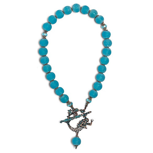 African recycled glass bead necklace with pave' verdigris mermaid toggle clasp