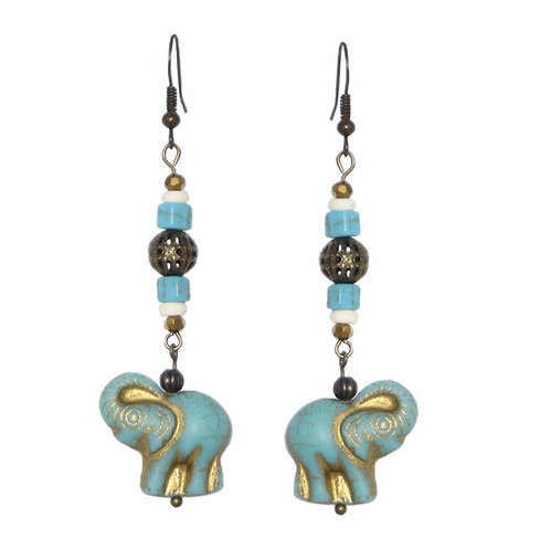 Turquoise/gold elephant drop earrings with mixed beads