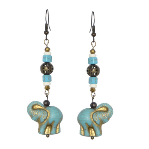 f70cc5a6b Turquoise/gold elephant drop earrings with mixed beads