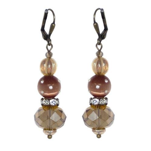 Czech crystal, rhinestone inset resin beaded drop earrings
