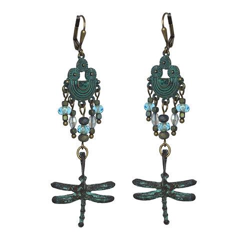 Verdigris brass Dragonfly drop chandelier earrings