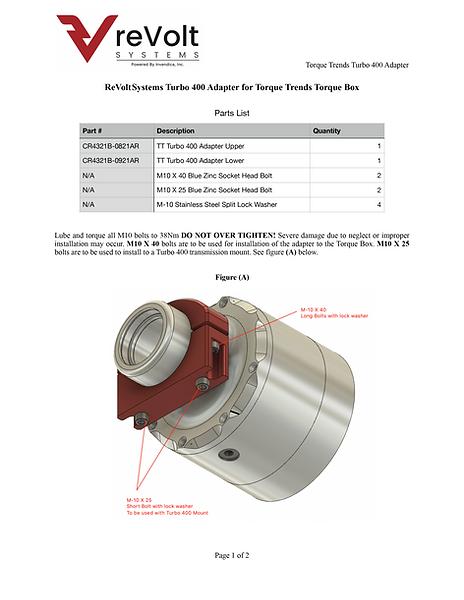 reVoltSystemsTurbo 400 Adapter for Torque Trends TorqueBox Fig A