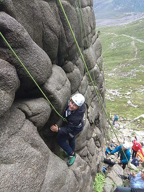 rock climbing at Lower Cove on an away d