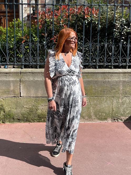 robe longue plissée motif jouy noir