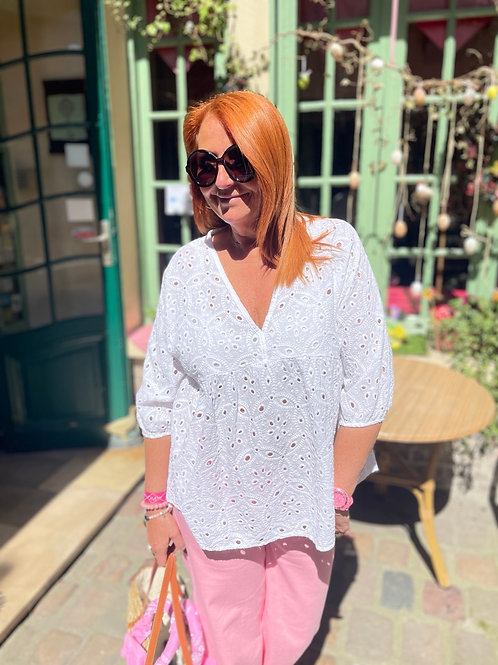 blouse broderie anglaise blanche
