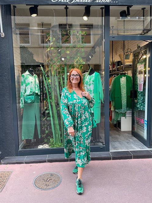 Robe longue fleurs japon vert