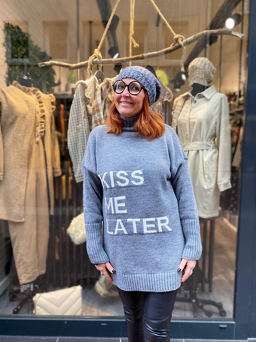 pull col roulé kiss me later gris