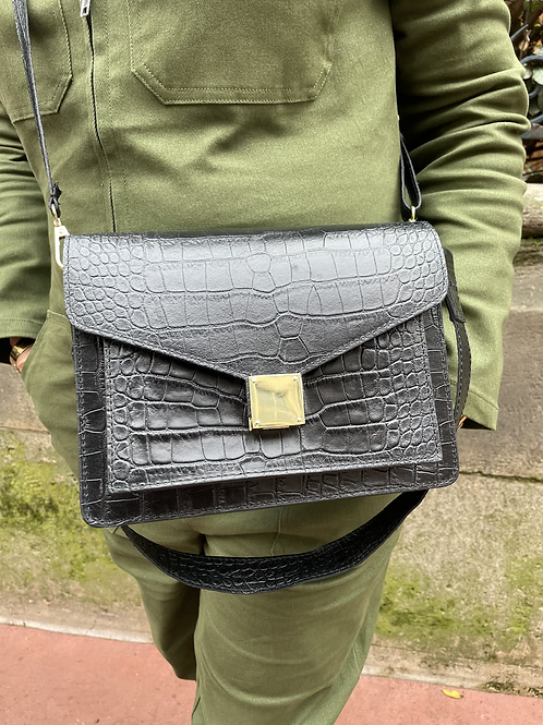 sac croco noir