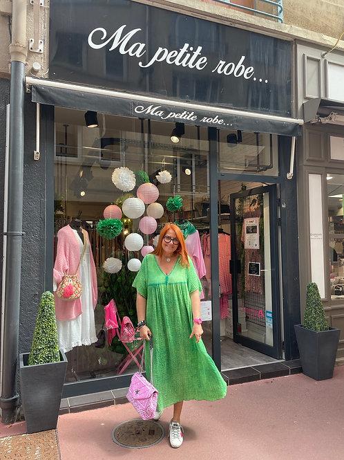 Robe longue coton gaufré verte