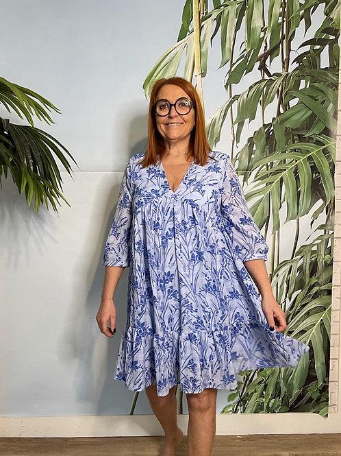 robe légère à volant bleue azur