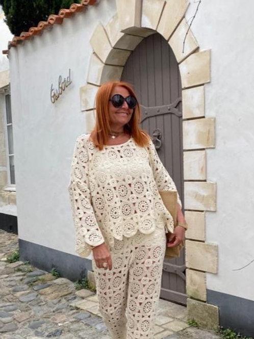 blouse macramé beige