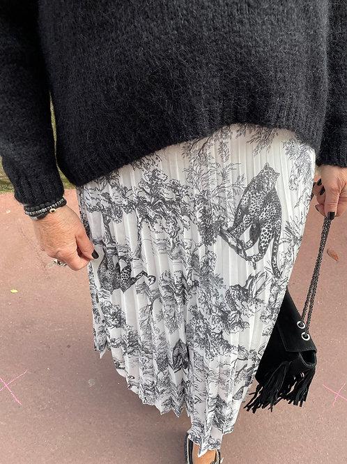 jupe motif jouy noir