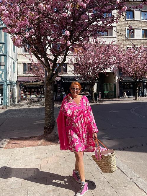 robe fleurs japon rose