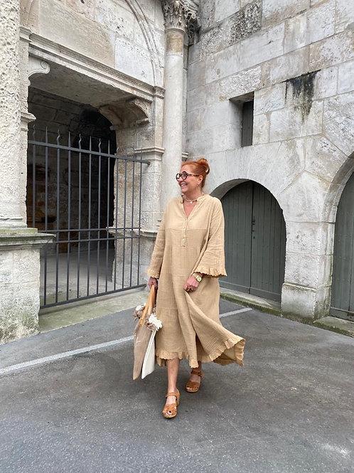 maxi robe gaze de coton camel