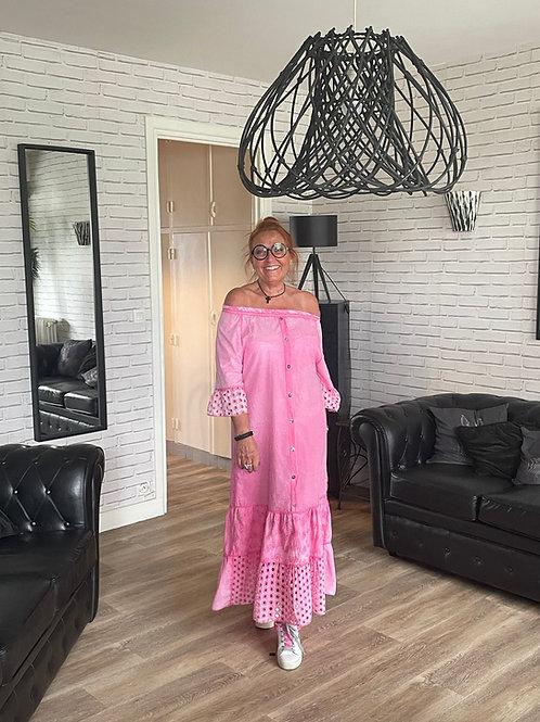 robe longue rose broderie
