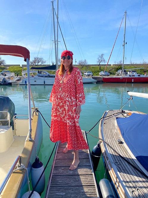 robe rouge imprimée bohème