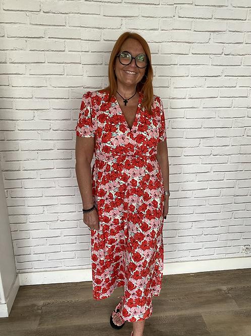Robe longue croisée imp fleurs rouge