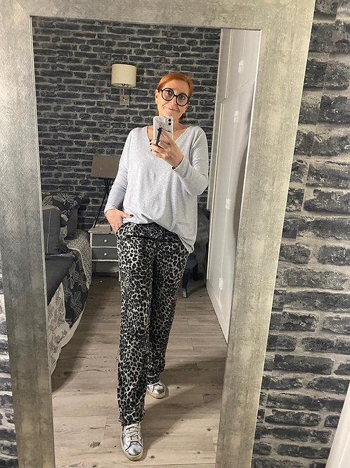Pantalon léopard gris