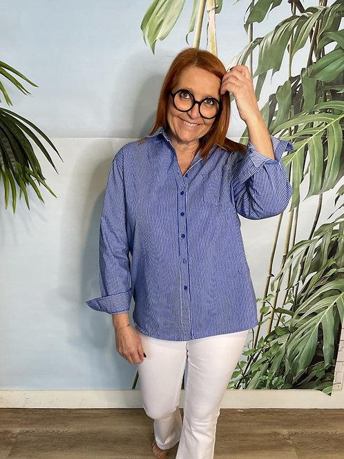 chemise rayée bleue marine et blanc
