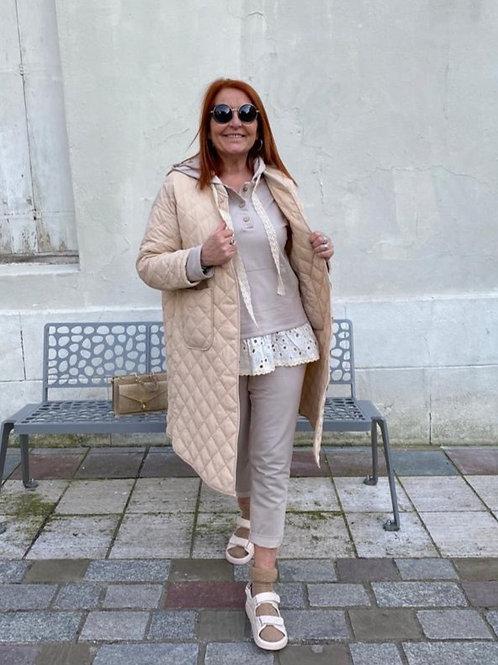 Manteau long matelassé beige