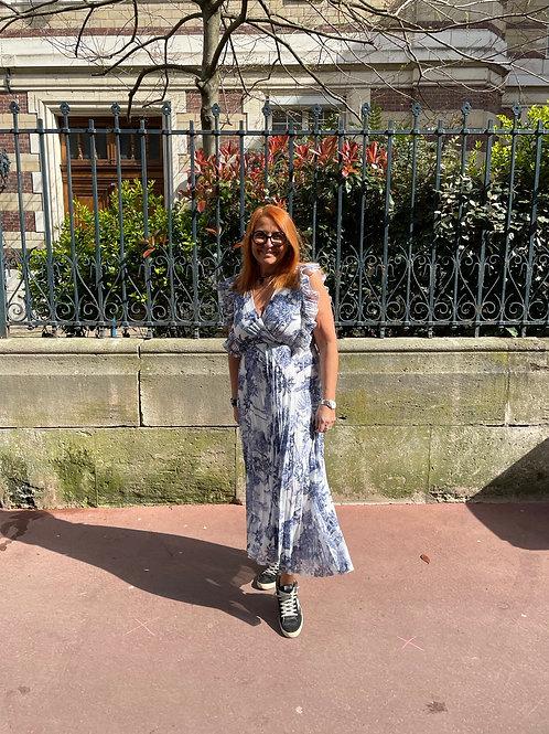 robe longue plissée motif jouy marine