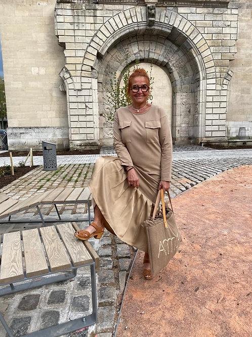 robe volantée beige