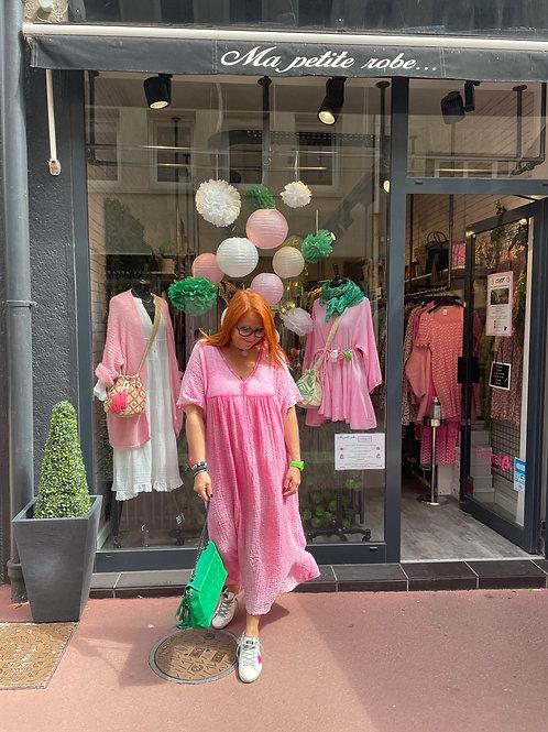 Robe longue coton gaufré rose