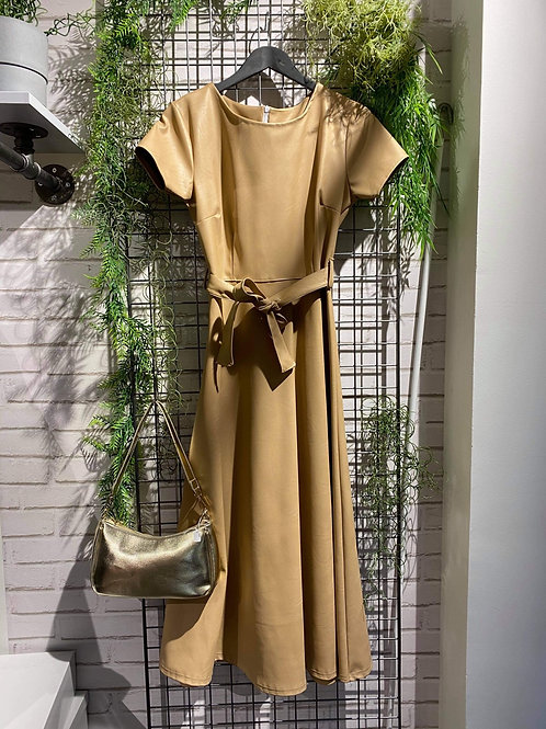 Robe simili cuir camel