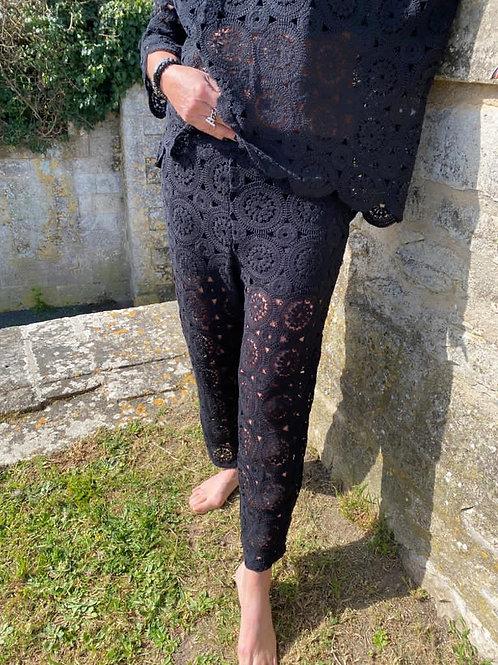 pantalon macramé noir