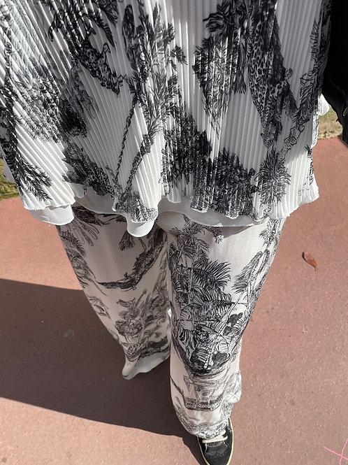 pantalon fluide motif jouy