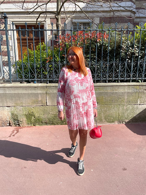 robe plissée motif jouy rouge