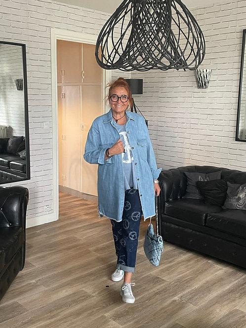 chemise en jean longue