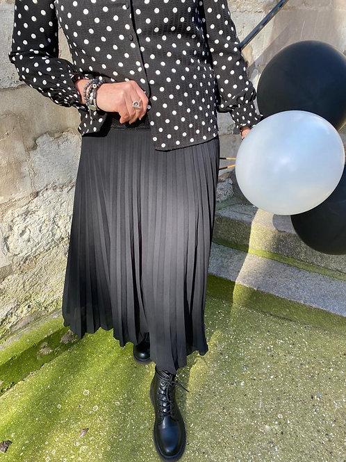 jupe plissée noir et blanc
