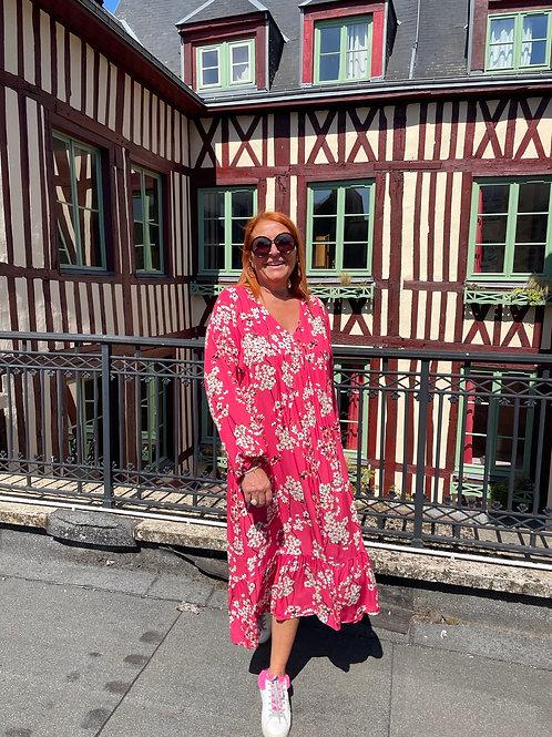 robe longue fleurs japon rose