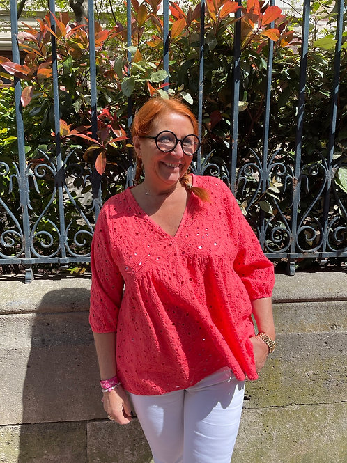 Blouse broderie anglaise corail
