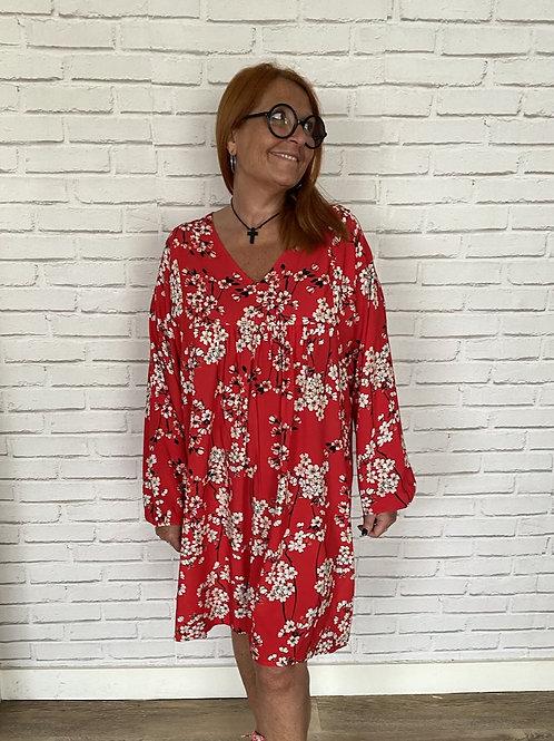 Robe fleurs japon rouge